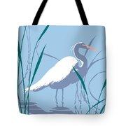 abstract Egret graphic pop art nouveau 1980s stylized retro tropical florida bird print blue gray  Tote Bag