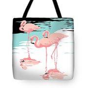 Pink Flamingos Tropical 1980s Abstract Pop Art Nouveau Graphic Art Retro Stylized Florida Print Tote Bag