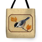 Chickadee And Autumn Leaves Tote Bag