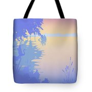 abstract tropical boat Dock Sunset large pop art nouveau retro 1980s florida landscape seascape Tote Bag