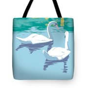 Abstract Swans Bird Lake Pop Art Nouveau Retro 80s 1980s Landscape Stylized Large Painting  Tote Bag