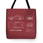 Aston Martin V8 Vantage Blueprint - Red Tote Bag