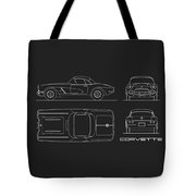 Corvette C1 Blueprint - Red Tote Bag