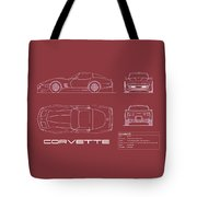 Corvette C3 Blueprint - Red Tote Bag