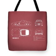 Ferrari 330 Blueprint - Red Tote Bag