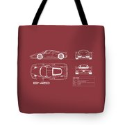 Enzo Ferrari Blueprint - Red Tote Bag