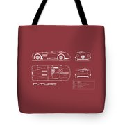 Jaguar C-type Blueprint - Red Tote Bag