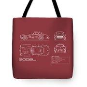 Mercedes 300 Sl Blueprint - Red Tote Bag