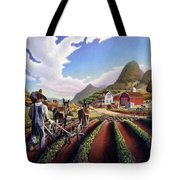 Appalachian Folk Art Summer Farmer Cultivating Peas Farm Farming Landscape Appalachia Americana Tote Bag