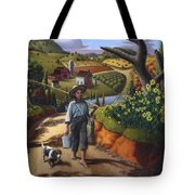 Boy And Dog Farm Landscape - Flashback - Childhood Memories - Americana - Painting - Walt Curlee Tote Bag