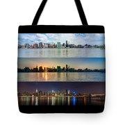 Manhattanhenge View From Across East River Tote Bag by Sasha Karasev