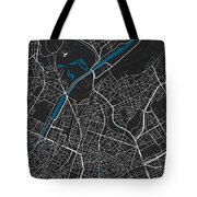 Brussels City Map Black Colour Tote Bag