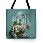 White Tiger And The Taj Mahal Image Of Beauty Tote Bag