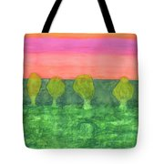 Trees, Green And Evening Sky Tote Bag