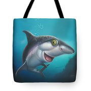 friendly Shark Cartoony cartoon under sea ocean underwater scene art print blue grey  Tote Bag