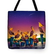 Pelican Sunset Whimsical Cartoon Tropical Birds Seascape Print Blue Orange Purple Yellow Tote Bag