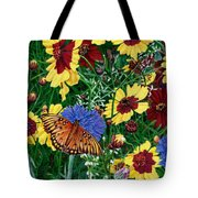 Butterfly Wildflowers Garden Oil Painting Floral Green Blue Orange-2 Tote Bag