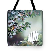 Chickadees In Blossom Tree Tote Bag