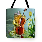 Humorous Scene Frog Playing Cello In Lily Pond Tote Bag
