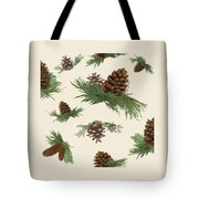 Mountain Lodge Cabin In The Forest - Home Decor Pine Cones Tote Bag