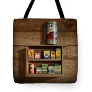 Wall Spice Rack - Americana Kitchen Art Decor - Vintage Spice Cans Tins - Nostalgic Spice Rack Tote Bag