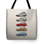Stack Of Toyota Tercel Sr5 4wd Al25 Wagons Tote Bag