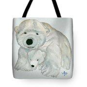 Cuddly Polar Bear Watercolor Tote Bag