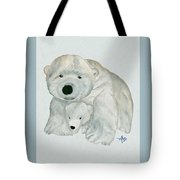 Cuddly Polar Bear Watercolor Tote Bag
