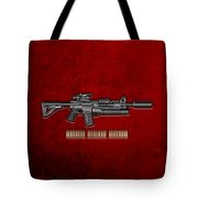Colt  M 4 A 1  S O P M O D Carbine With 5.56 N A T O Rounds On Red Velvet  Tote Bag