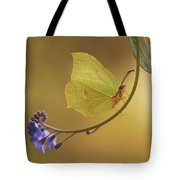 Yellow Butterfly On Blue Forget-me-not Flowers Tote Bag