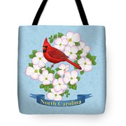 North Carolina State Bird And Flower Tote Bag by Crista Forest
