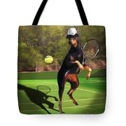 funny pet scene tennis playing Doberman Tote Bag