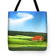 Red House In Field - Amshausen, Germany Tote Bag