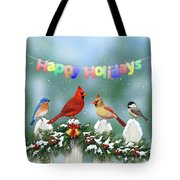 Christmas Birds And Garland Tote Bag by Crista Forest