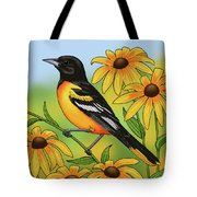 Maryland State Bird Oriole And Daisy Flower Tote Bag by Crista Forest