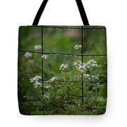 Raindrops On The Garden Fence Tote Bag