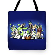 12 Dogs On Blue Tote Bag