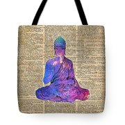 Space Buddha Dictionary Art Tote Bag