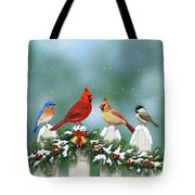 Winter Birds And Christmas Garland Tote Bag