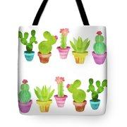 Cactus Plants In Pretty Pots Tote Bag
