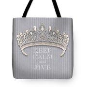 Keep Calm And Jive Diamond Tiara Gray Flannel Tote Bag