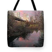 Austin Hike And Bike Trail - Train Trestle 1 Sunset Triptych Right Tote Bag