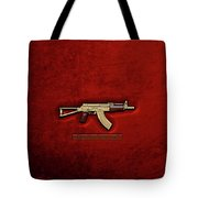 Gold A K S-74 U Assault Rifle With 5.45x39 Rounds Over Red Velvet   Tote Bag