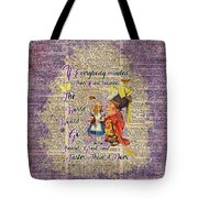 Alice With The Duchess Vintage Dictionary Art Tote Bag