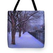 Evening Snow Path At Waterfront Park Burlington Vermont Tote Bag
