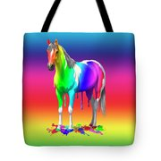 Colorful Rainbow Paint Horse Tote Bag