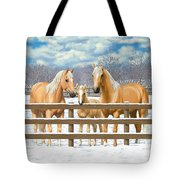 Palomino Quarter Horses In Snow Tote Bag by Crista Forest