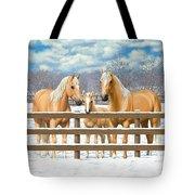 Palomino Quarter Horses In Snow Tote Bag