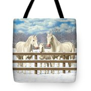 White Quarter Horses In Snow Tote Bag by Crista Forest