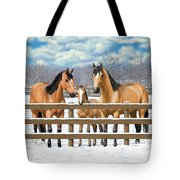 Buckskin Quarter Horses In Snow Tote Bag by Crista Forest